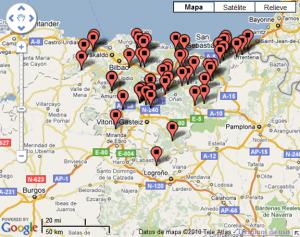Euskadiko Erkidegoko fosen mapa